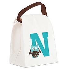 Letter N Monogram Initial Owl Canvas Lunch Bag
