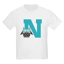 Letter N Monogram Initial Owl T-Shirt