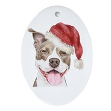 Christmas Pit Bull Terrier Oval Ornament
