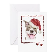 Merry Christmas Pit Bull Terrier Greeting Cards