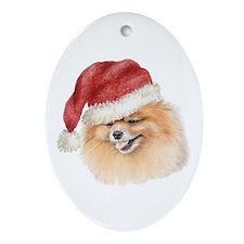 Christmas Pomeranian Oval Ornament