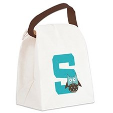 Letter S Monogram Initial Owl Canvas Lunch Bag