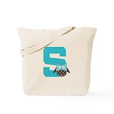 Letter S Monogram Initial Owl Tote Bag