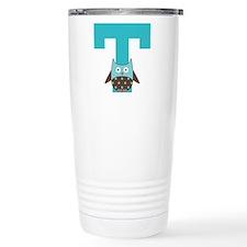Letter T Monogram Initial Owl Travel Mug