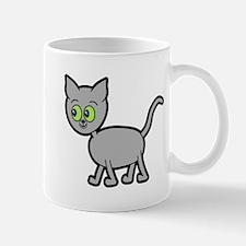 Green Eyed Gray Cat. Mug
