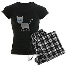 Blue Eyed Gray Cat. Pajamas