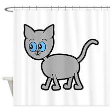 Blue Eyed Gray Cat. Shower Curtain