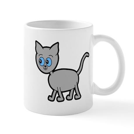 Blue Eyed Gray Cat. Mug