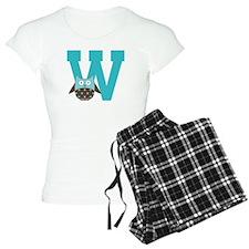 Letter W Monogram Initial Owl Pajamas