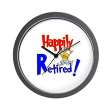 """""""Happily Retired"""" Wall Clock"""