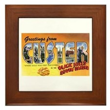 Custer South Dakota Greetings Framed Tile