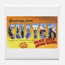 Custer South Dakota Greetings Tile Coaster