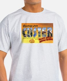 Custer South Dakota Greetings (Front) Ash Grey T-S