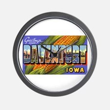 Davenport Iowa Greetings Wall Clock