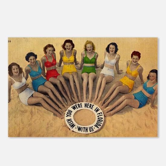 Retro Beach Beauties Postcards (Package of 8)