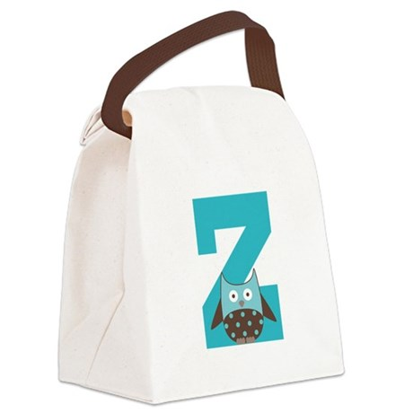 Letter Z Monogram Initial Owl Canvas Lunch Bag
