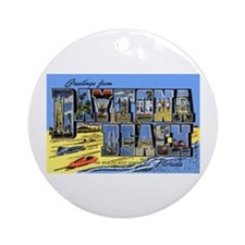 Daytona Beach Florida Greetings Ornament (Round)
