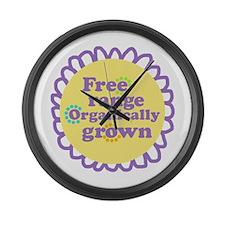 Free Range Organically Grown Large Wall Clock