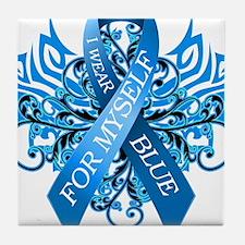 I Wear Blue for Myself Tile Coaster