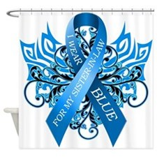 I Wear Blue for my Sister in Law Shower Curtain