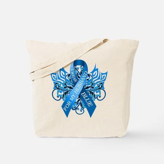 I Wear Blue for my Husband Tote Bag
