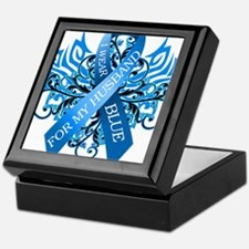 I Wear Blue for my Husband Keepsake Box