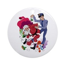 Santa Got Busted! Stuff Ornament (Round)