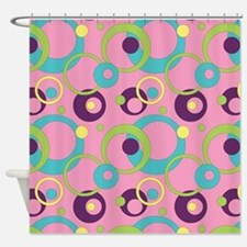 Funky Pink Circles Shower Curtain
