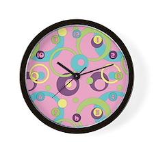 Funky Pink Circles Wall Clock