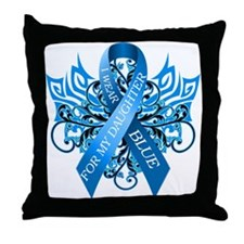 I Wear Blue for my Daughter Throw Pillow
