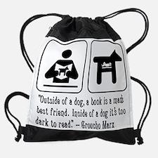 dog, book, mans best friend, quote, Drawstring Bag
