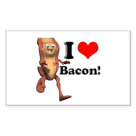 I Heart (Love) Bacon Rectangle Sticker