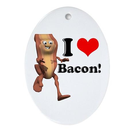 I Heart (Love) Bacon Oval Ornament