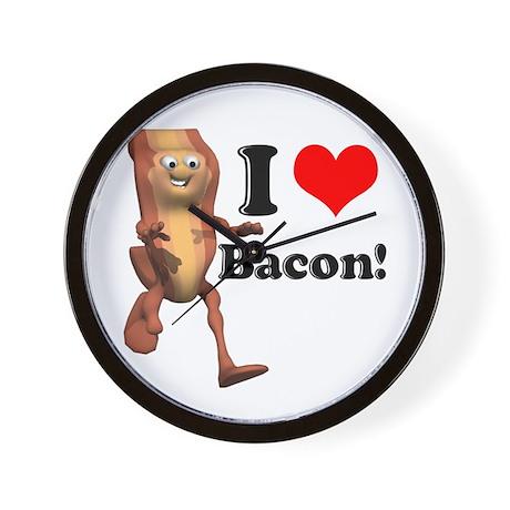 I Heart (Love) Bacon Wall Clock