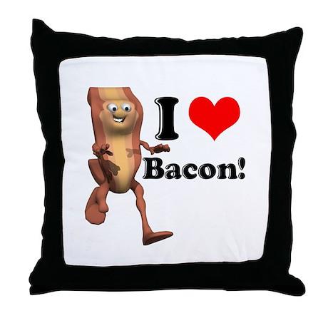 I Heart (Love) Bacon Throw Pillow