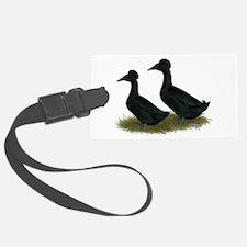 Crested Ducks Black Luggage Tag