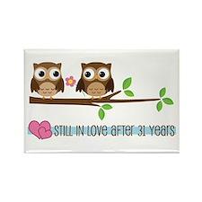 Owl 31st Anniversary Rectangle Magnet