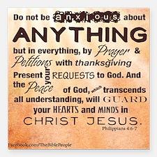 "Philippians 4:6-7 Square Car Magnet 3"" x 3&qu"