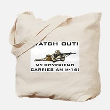 Military Boyfriend carries M-16 Tote Bag