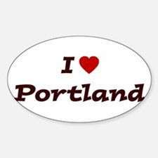 I HEART PORTLAND Oval Decal