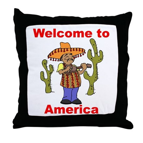 Welcome to America Throw Pillow