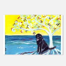 Black Labrador art deco tree ocean Postcards (Pack