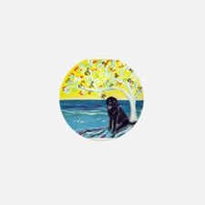 Black Labrador art deco tree ocean Mini Button