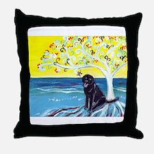 Black Labrador art deco tree ocean Throw Pillow