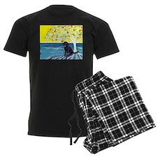 Black Labrador art deco tree ocean Pajamas