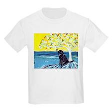 Black Labrador art deco tree ocean T-Shirt