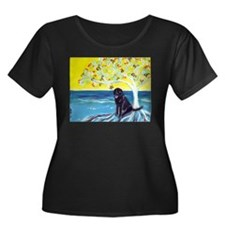 Black Labrador art deco tree ocean Plus Size T-Shi