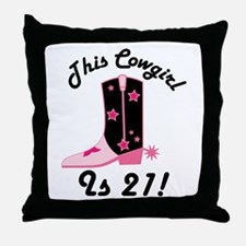 21st Birthday Cowgirl Throw Pillow