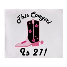 21st Birthday Cowgirl Throw Blanket