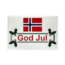 Norway God Jul Rectangle Magnet